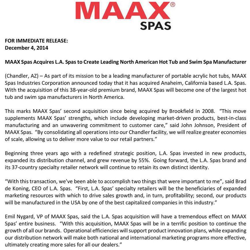 Hot Tubs Ventura - Maax Spas Acquires L.A. Spas - Hot Tubs, Swim ...